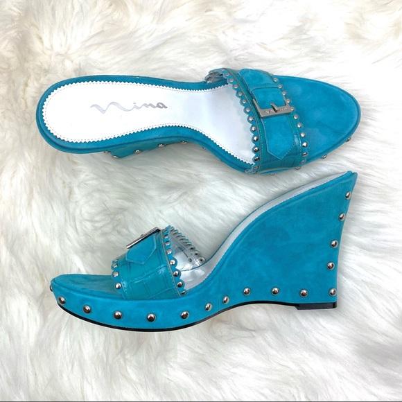 Nina Shoes - Nina Suede/Leather Silver Studded Wedge Sz 9 1/2M